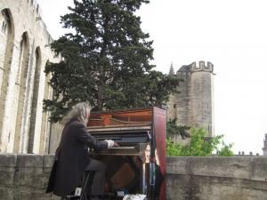 Martinus Wolf, als straatmuziekant in aktie in Avignon (F)