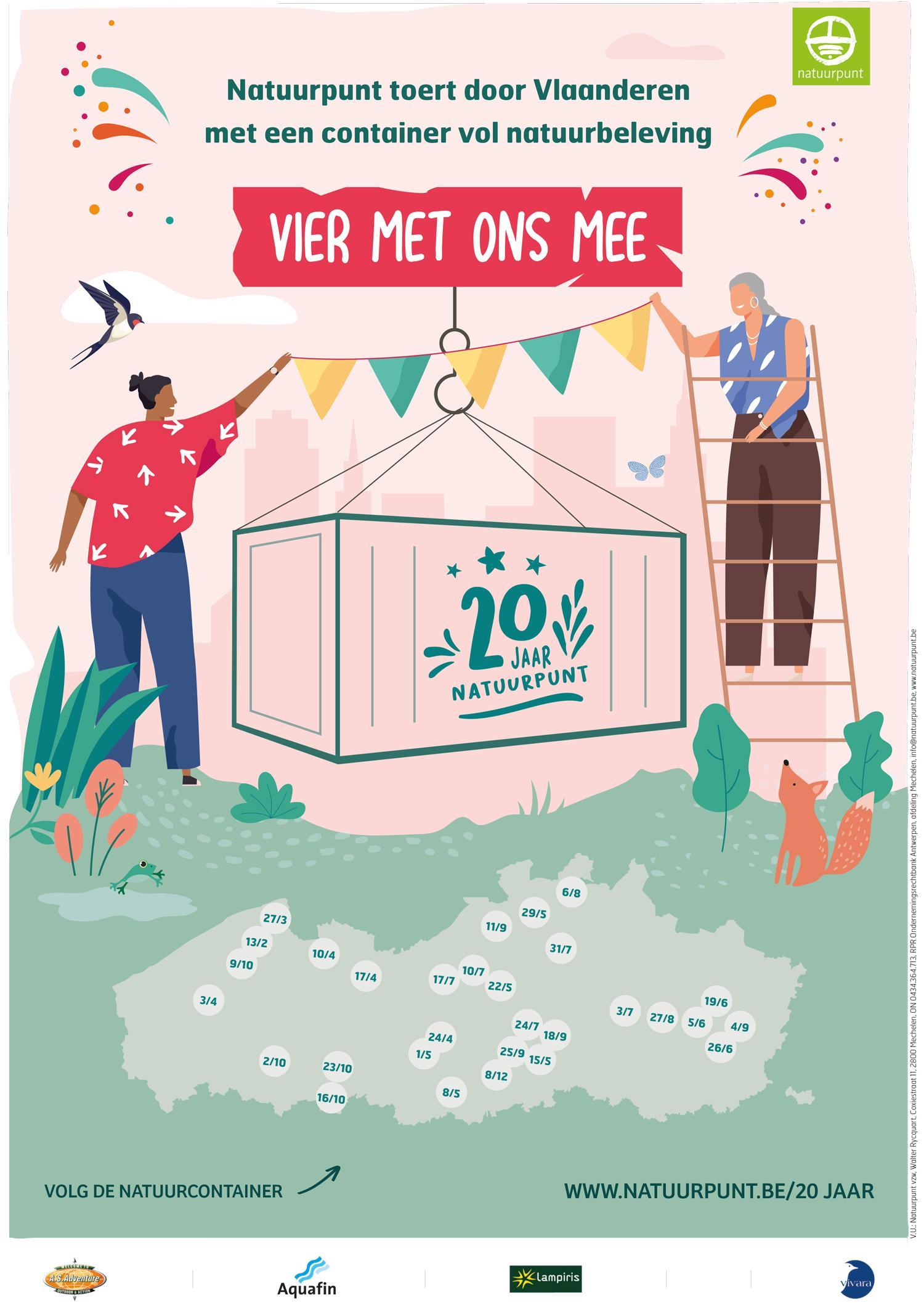 Natuurpunt bestaat dit jaar 20 jaar en viert dit met een  feestelijke container die heel Vlaanderen zal doorkruisen.