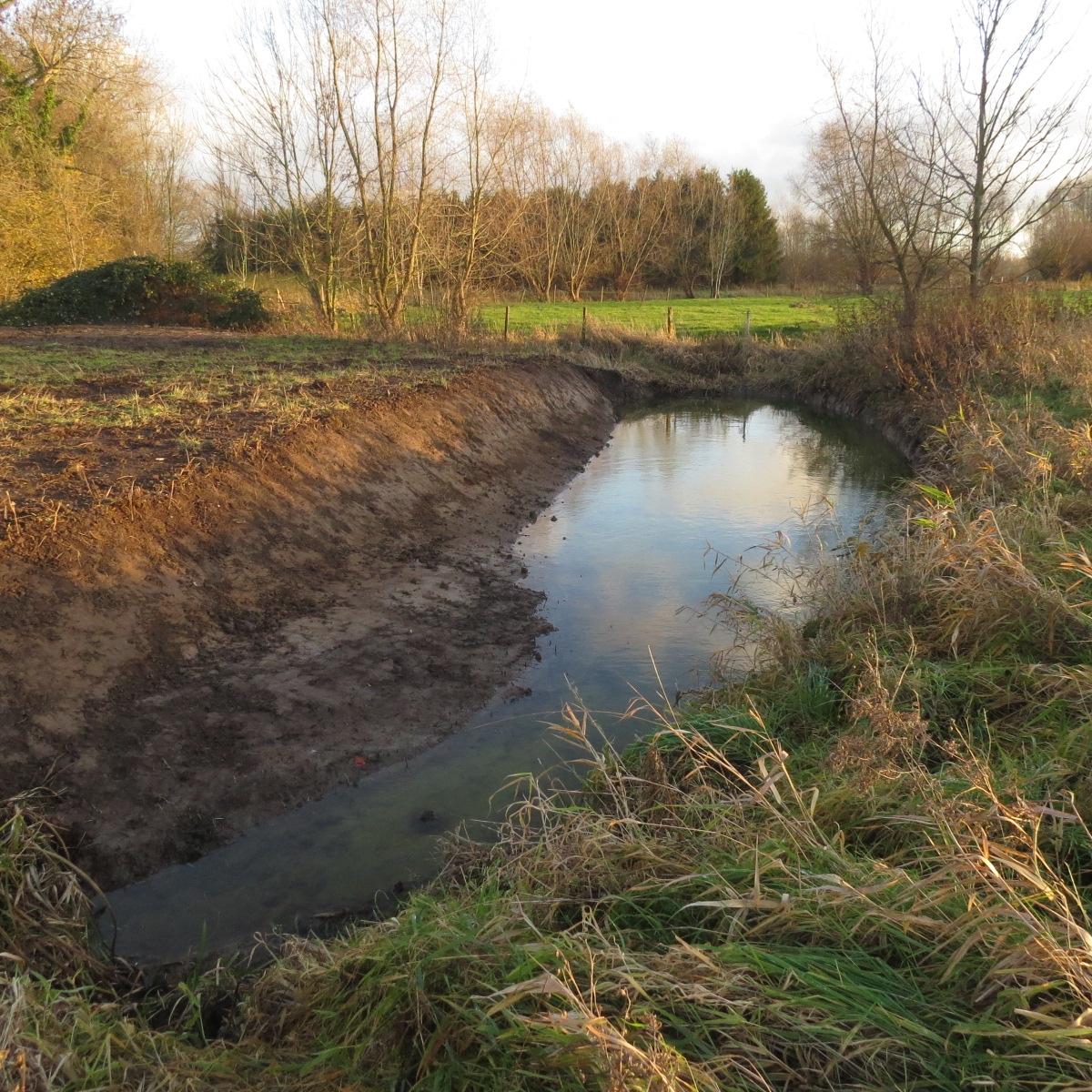 Uitgegraven poel in Denderbelle Wiestermeers (Beneden-Dender)